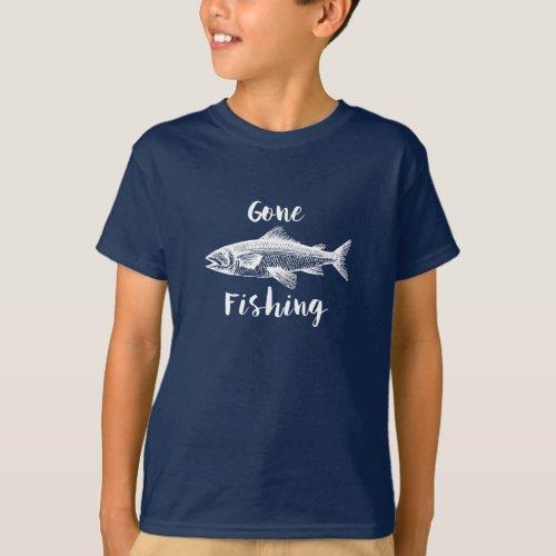 Gone Fishing Kids Cotton T_Shirt
