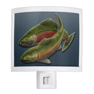 Gone Fishing Lamp Coho Salmon Night Light Decor