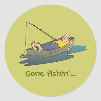 Gone fishing - lazy boat day classic round sticker