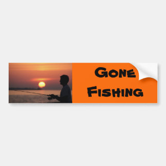 Gone Fishing, man fishing in sunset Car Bumper Sticker
