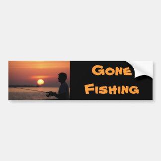 Gone Fishing, man fishing in sunset bumper sticker Car Bumper Sticker