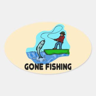 Gone Fishing Oval Sticker