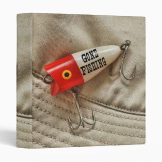 Gone Fishing Red & White Fishing Lure Vinyl Binder