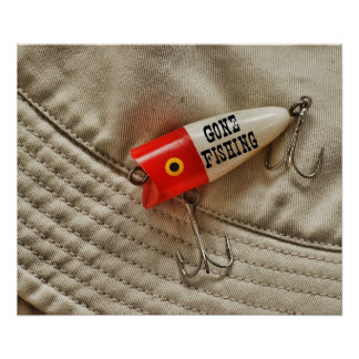 Gone Fishing Red & White Fishing Lure Poster