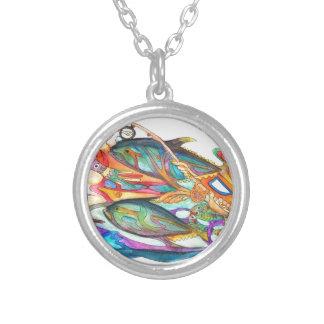Gone Fishing Round Pendant Necklace