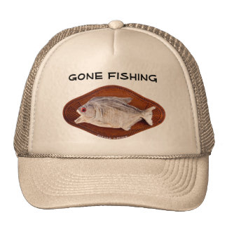Gone Fishing sign on hat