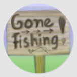 Gone fishing sign stickers