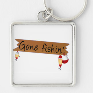 Gone Fishing Silver-Colored Square Keychain
