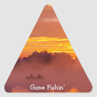 Gone Fishing Triangle Sticker