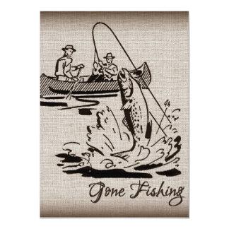 Gone Fishing Vintage Canoe Kayak Fish on Burlap Card