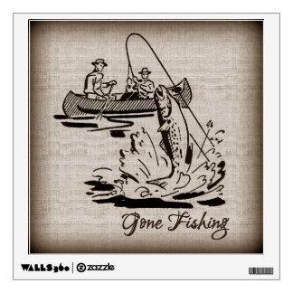 Gone Fishing Vintage Canoe Kayak Fish on Burlap Room Graphics