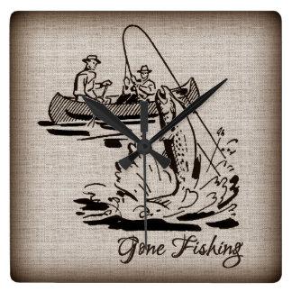 Gone Fishing Vintage Canoe Kayak Fish on Burlap Square Wall Clock
