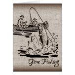 Gone Fishing Vintage Canoe Kayak Fish on Burlap Stationery Note Card