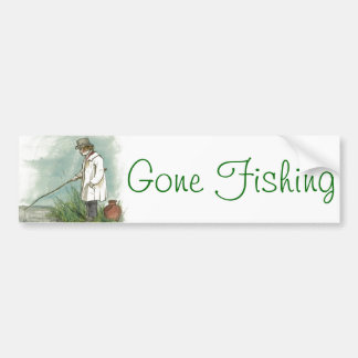 Gone Fishing Vintage Drawing Car Bumper Sticker