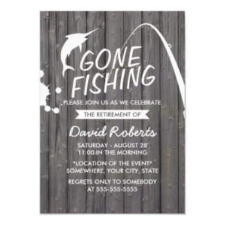 Gone Fishing Wood Background Retirement Party Card