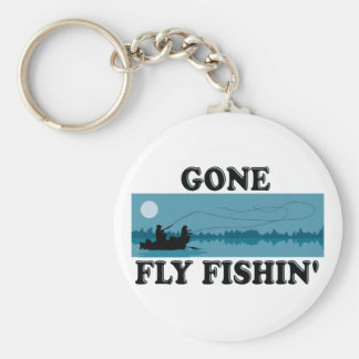 Gone Fly Fishin' Basic Round Button Keychain