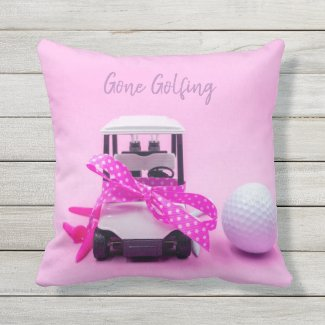 Gone golfing with golf ball and cart on pink Door Outdoor Pillow