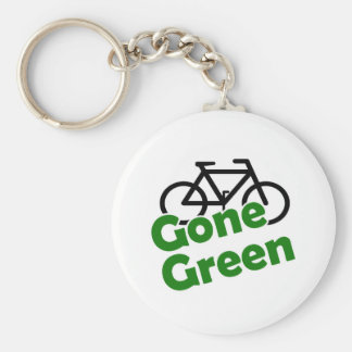 gone green bicycle basic round button keychain