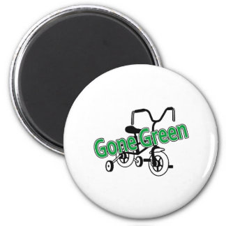 Gone Green (Tricycle) 2 Inch Round Magnet