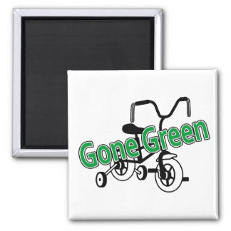 Gone Green (Tricycle) 2 Inch Square Magnet
