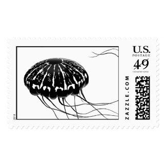 gone jellyfishing postage stamp