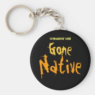 Gone Native Basic Round Button Keychain