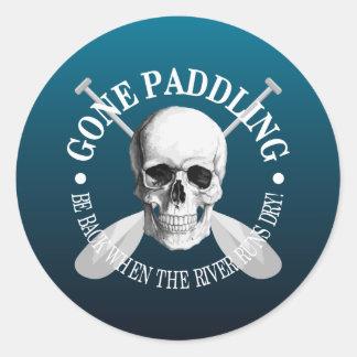 Gone Paddling (Skull) Classic Round Sticker