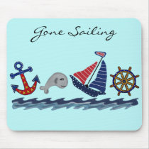Gone Sailing Nautical Pattern Mouse Pad