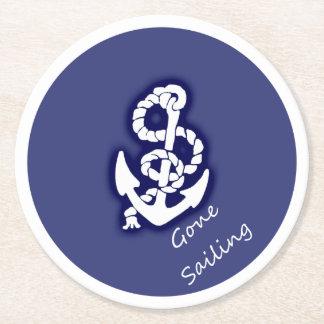 Gone Sailing White Anchor on Nautical Blue Round Paper Coaster