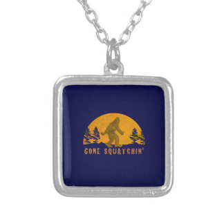 Gone Squatchin' Awesome Vintage Sunset Square Pendant Necklace