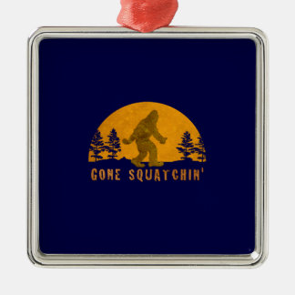 Gone Squatchin' Awesome Vintage Sunset Square Metal Christmas Ornament
