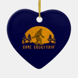 Gone Squatchin' Awesome Vintage Sunset Double-Sided Heart Ceramic Christmas Ornament