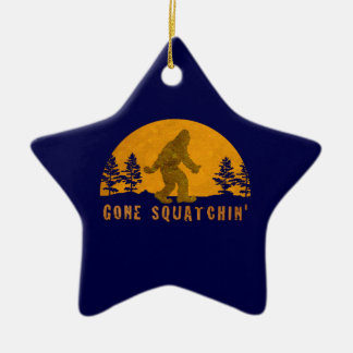 Gone Squatchin' Awesome Vintage Sunset Double-Sided Star Ceramic Christmas Ornament