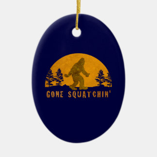 Gone Squatchin' Awesome Vintage Sunset Double-Sided Oval Ceramic Christmas Ornament