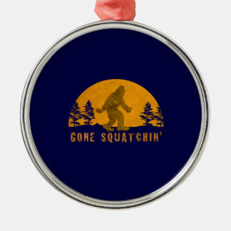 Gone Squatchin' Awesome Vintage Sunset Round Metal Christmas Ornament