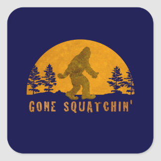 Gone Squatchin' Awesome Vintage Sunset Square Sticker