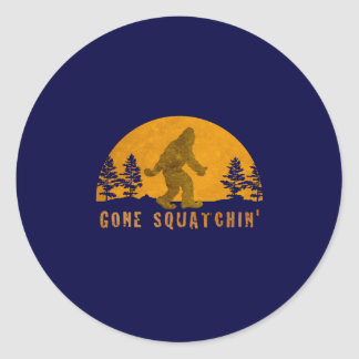 Gone Squatchin' Awesome Vintage Sunset Classic Round Sticker