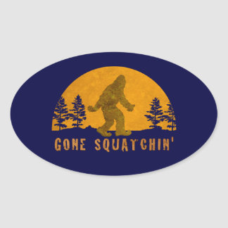Gone Squatchin' Awesome Vintage Sunset Oval Sticker