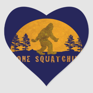 Gone Squatchin' Awesome Vintage Sunset Heart Sticker