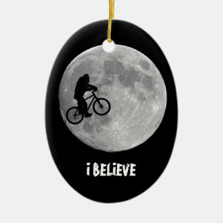 Gone Squatchin - Bigfoot biking across the moon Ceramic Ornament