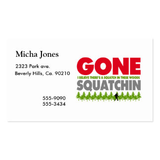 Gone Squatchin Bigfoot Hiding In Woods Double-Sided Standard Business Cards (Pack Of 100)