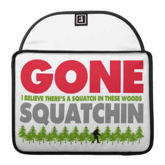 Gone Squatchin Bigfoot Hiding In Woods Sleeve For MacBooks