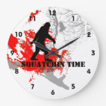 Gone Squatchin Bigfoot in the woods Round Wall Clocks