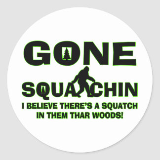 Gone Squatchin Bigfoot In Woods Classic Round Sticker
