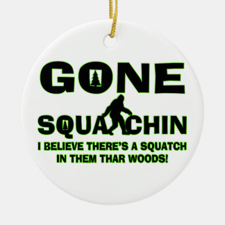 Gone Squatchin Bigfoot In Woods Double-Sided Ceramic Round Christmas Ornament