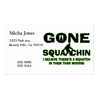 Gone Squatchin Bigfoot In Woods Double-Sided Standard Business Cards (Pack Of 100)