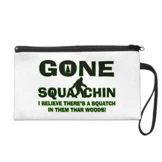 Gone Squatchin Bigfoot In Woods Wristlet Clutches