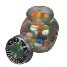 Gone squatchin bigfoot jelly belly candy jar at Zazzle