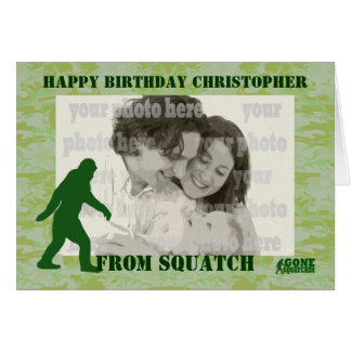 Gone squatchin bigfoot on green camo greeting card