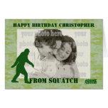 Gone squatchin bigfoot on green camo greeting card